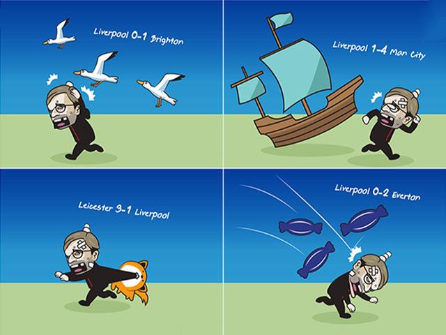 """Ảnh chế: Liverpool """"chìm xuồng"""" khá sâu, top 4 xa vời tầm tay"""