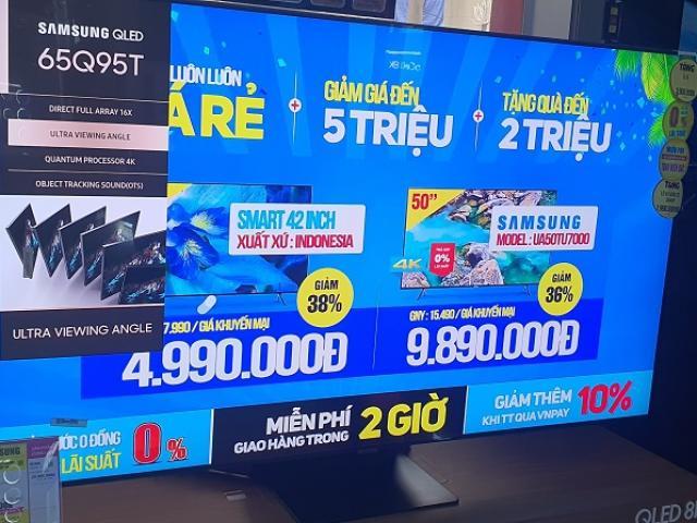 """Tivi màn hình lớn """"siêu giảm giá"""" mùa bóng đá, màn hình 65 inch chỉ từ 15 triệu đồng"""