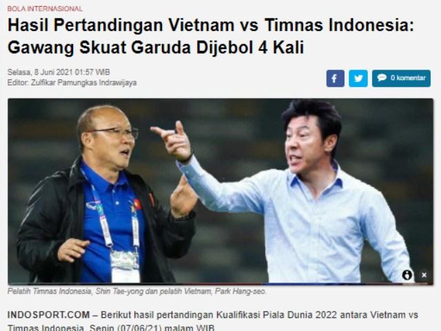 """Fan Indonesia chê đội nhà đáng ra thua 0-13, báo chí ngả mũ """"Vua Đông Nam Á"""" ĐT Việt Nam"""