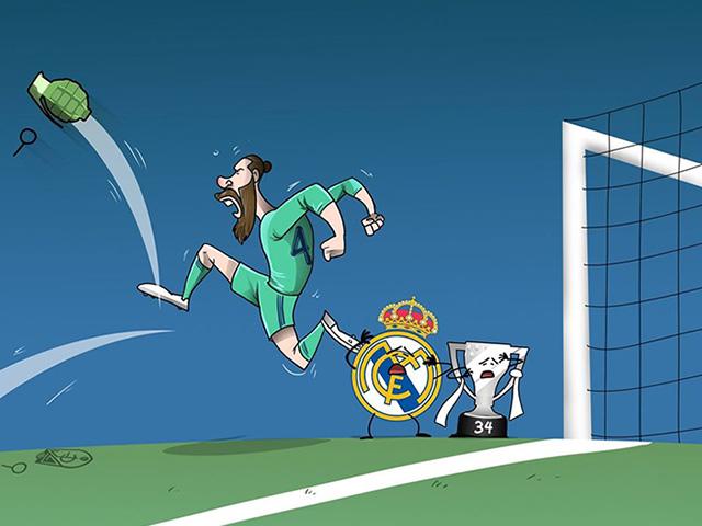 """Ảnh chế: Ramos """"đá văng"""" mọi thứ cản đường Real vô địch La Liga"""