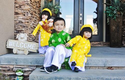 'Cục cưng' nhà sao Việt đáng yêu với áo dài, khăn xếp - hình ảnh 4