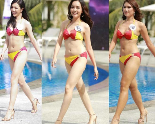 Thí sinh HH Hoàn vũ VN mặc bikini lộ mỡ: Chân tay tôi không thểcong vòng vậy được! - hình ảnh 1