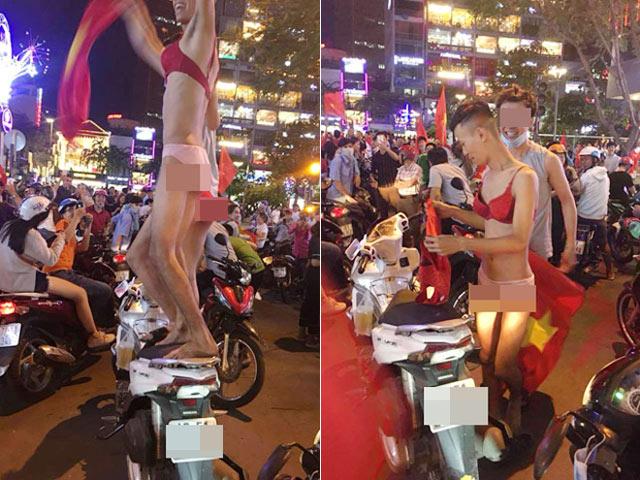 Chướng mắt 3 thanh niên diện nội y nữ ăn mừng U23 Việt Nam chiến thắng