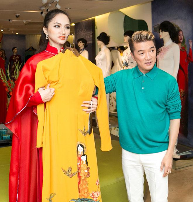 Mr. Đàm hộ tống Hương Giang thử áo dài thi Hoa hậu chuyển giới - hình ảnh 3