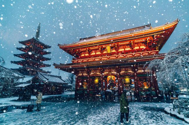 Tuyết bao phủ ngôi đền Senso-Ji, Asakusa, Tokyo.