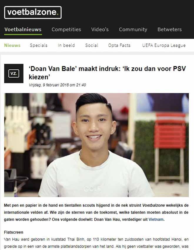 """Đoàn Văn Hậu lên báo Hà Lan: """"Gareth Bale Việt Nam"""" gia nhập PSV? - 1"""