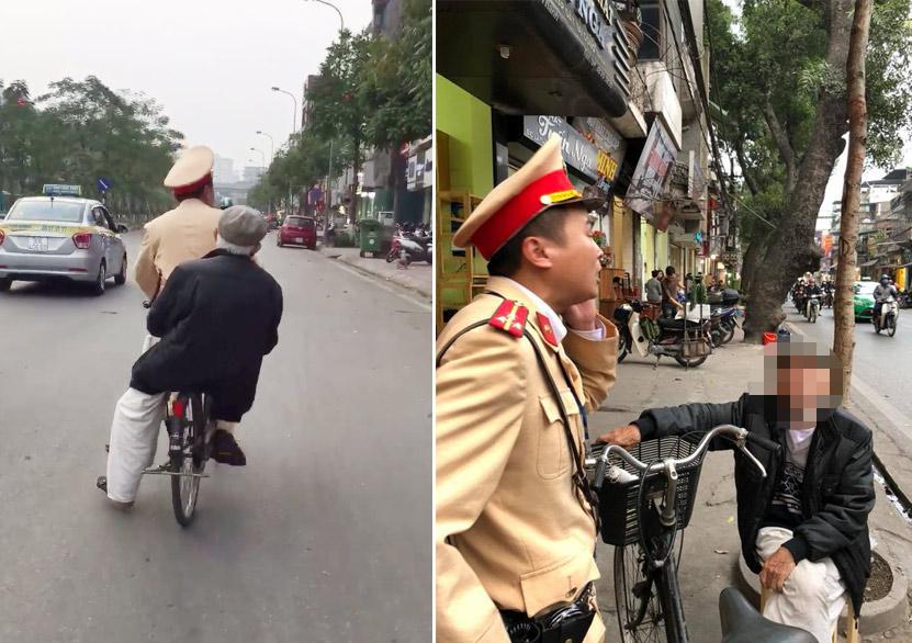 """CSGT đạp xe chở cụ già bị lẫn đi tìm nhà """"đốn tim"""" cộng đồng mạng - 1"""