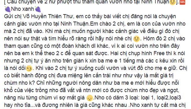 """Hai nữ phượt thủ bị """"ném đá"""" vì tùy tiện ăn nho trên giàn tại Ninh Thuận - hình ảnh 3"""