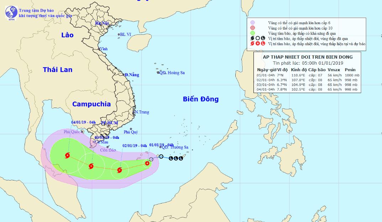 Cơn bão đầu tiên của năm 2019 giật cấp 10, hướng vào các tỉnh Nam Bộ - 1