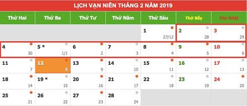 Lịch nghỉ Tết Nguyên đán Kỷ Hợi 2019 chính thức - 1