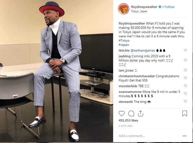 Mayweather 1 giây kiếm 1,5 tỷ đồng: Về tiêu