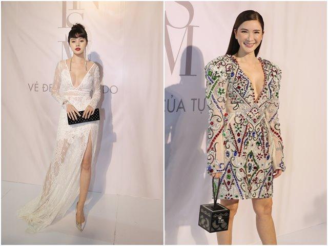 Jolie Nguyễn diện đầm xẻ sâu hút tại fashion show