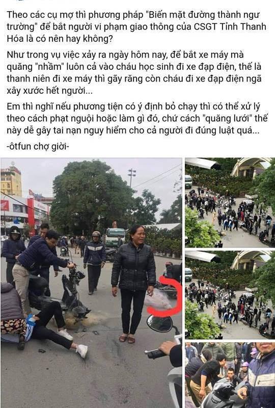 """Thực hư việc CSGT Thanh Hóa """"quăng lưới"""" trúng học sinh té ngã - 1"""