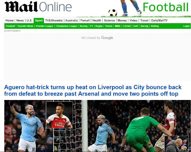 """Man City hạ Arsenal: Aguero hóa """"quái vật"""", báo Anh mơ Liverpool sảy chân Man-City-ha-Arsenal-Aguero-thanh-quai-vat-bao-Anh-mo-Liverpool-say-chan-daily-1549226899-811-width660height526"""