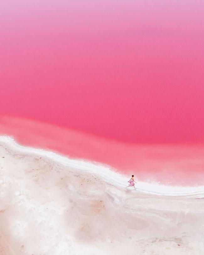 Giật mình phát hiện hồ nước màu hồng duy nhất trên thế giới - 1