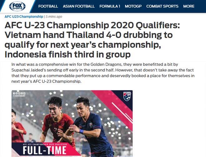 """U23 Việt Nam """"hủy diệt"""" Thái Lan 4-0: Báo châu Á ngả mũ kỳ tích lịch sử - 1"""