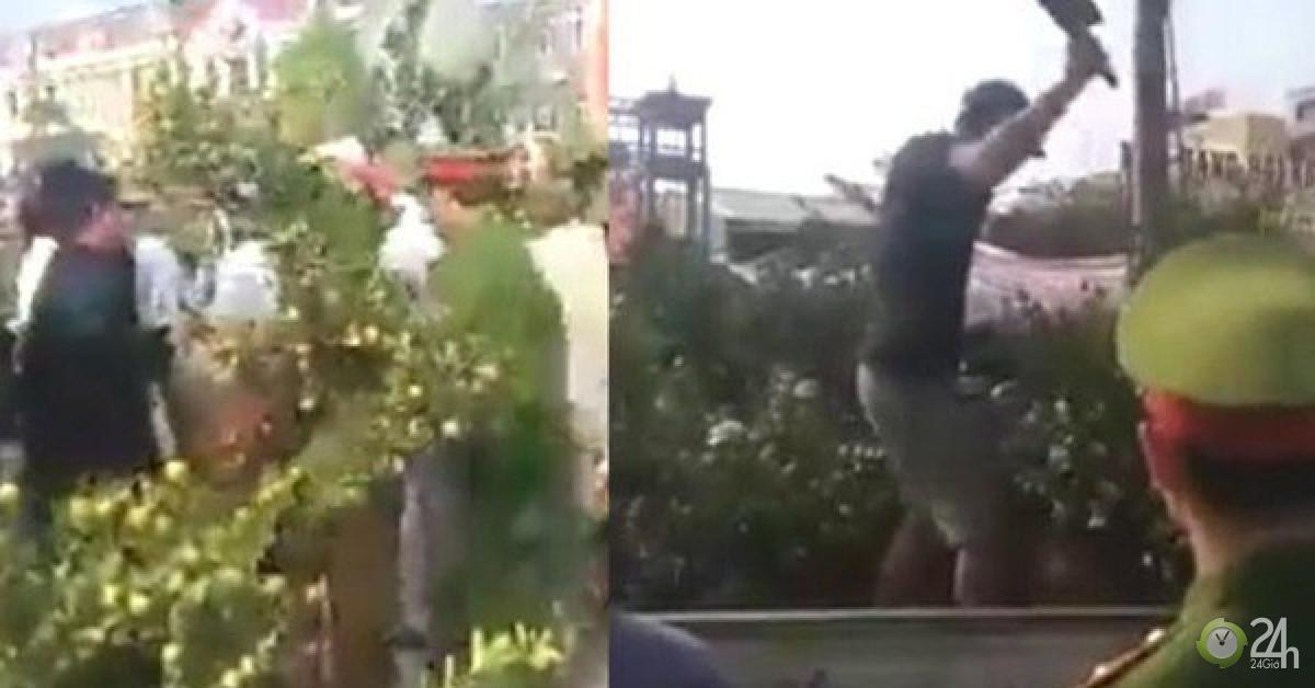 Người đàn ông cầm dao leo lên xe ô tô công vụ chặt các cây quất khi bị xử lý - Tin tức 24h - quất cảnh