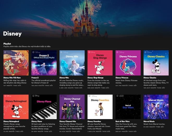 Thế giới Disney kỳ diệu xuất hiện trên ứng dụng nghe nhạc Spotify
