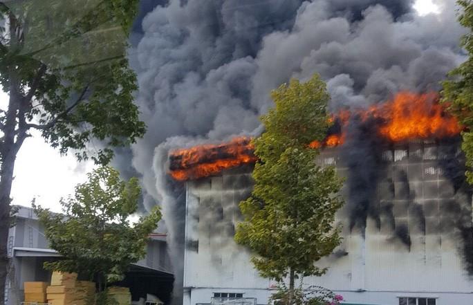 Đang cháy dữ dội ở thị xã Bến Cát - Bình Dương, khói mù trời