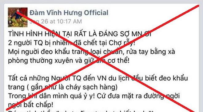 Tung tin sai sự thật về dịch nCoV, Đàm Vĩnh Hưng bị xử lý ra sao?