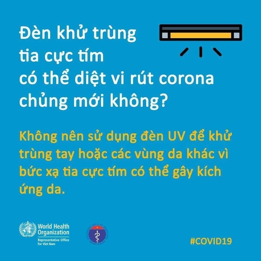 """WHO giải đáp thắc mắc về """"máy sấy tay, đèn khử trùng có hiệu quả diệt virus Corona"""" - 5"""