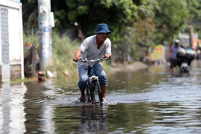 """Đường ở TP Thủ Đức ngập cả ngày, dân """"bơi"""" trong nước bẩn dù trời không mưa - hình ảnh 8"""