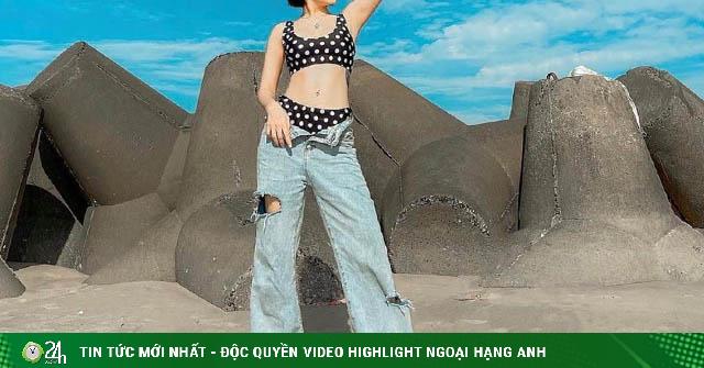Chán mặc bikini đi boots, Bảo Anh lại mê quần nửa mặc nửa tụt đi biển gây tranh cãi