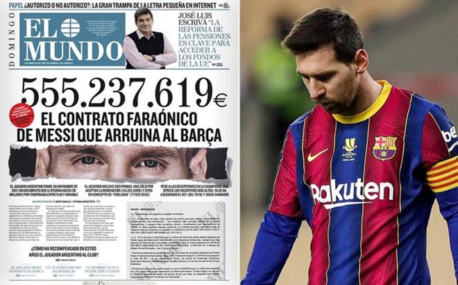 """Messi bị lộ nhận lương hơn nửa tỷ euro gây sốc, """"sôi máu"""" tính kiện Barca - 1"""