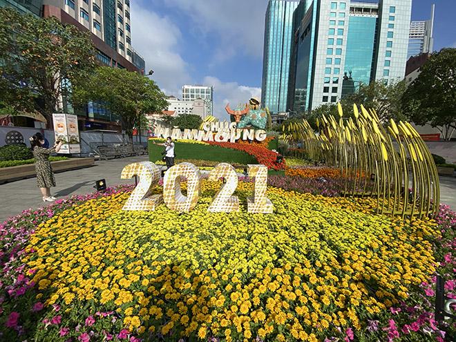 """Người dân xếp hàng đo thân nhiệt, đeo khẩu trang """"check in"""" đường hoa Tết Tân Sửu 2021 - hình ảnh 16"""