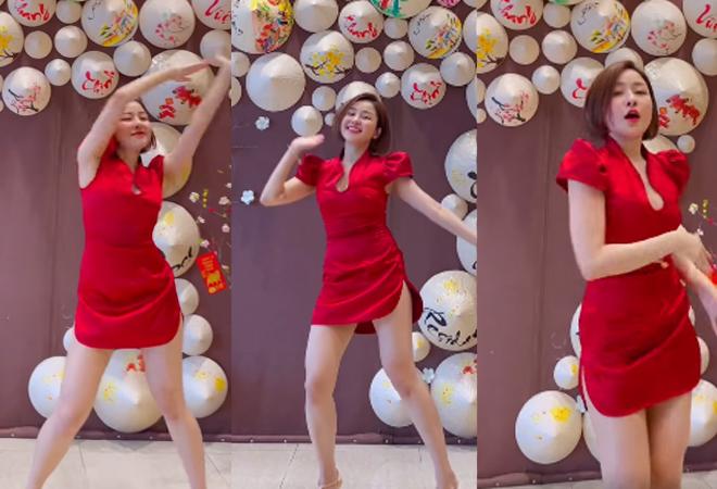 """""""Thót tim"""" vì Trâm Anh diện xường xám xẻ cao hút, nhảy cực """"sung"""" chào năm mới - hình ảnh 1"""
