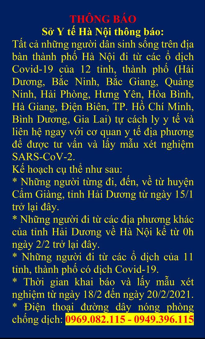 THÔNG BÁO: Người trở về Hà Nội từ 12 tỉnh/thành có ổ dịch phải xét nghiệm SARS-CoV-2 - hình ảnh 1