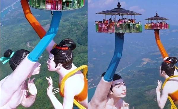 Trải nghiệm hú hồn trên 2 bức tượng xoay tay giữa trời tại Trung Quốc - hình ảnh 1