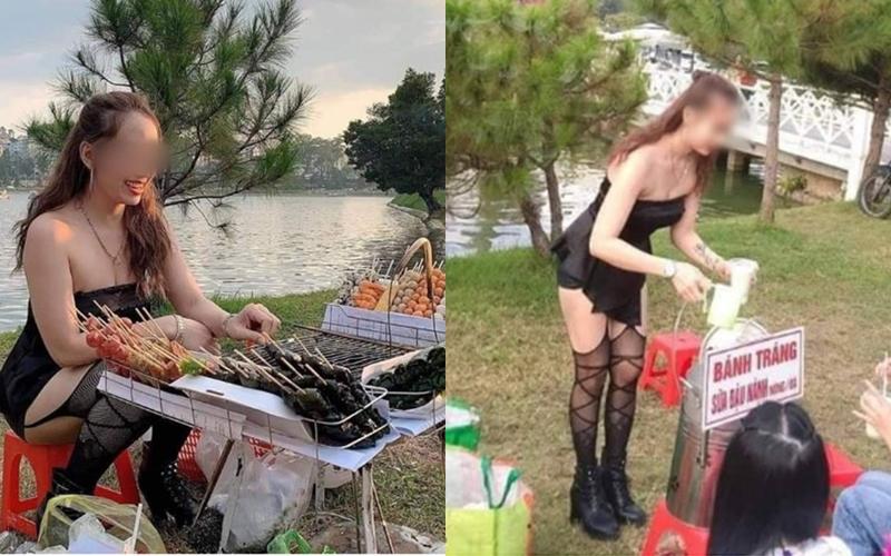 Mặc áo trễ nửa ngực, hot girl bán dứa, bán thịt lợn tiếp khách nườm nượp mua hàng - 9