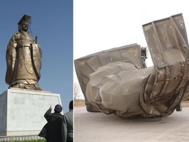 Tượng Tần Thủy Hoàng 6 tấn bị gió thổi đổ úp mặt ở TQ