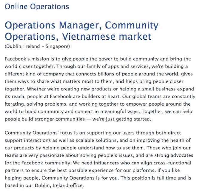 Facebook đăng tuyển nhân sự làm việc cho thị trường Việt Nam - 1