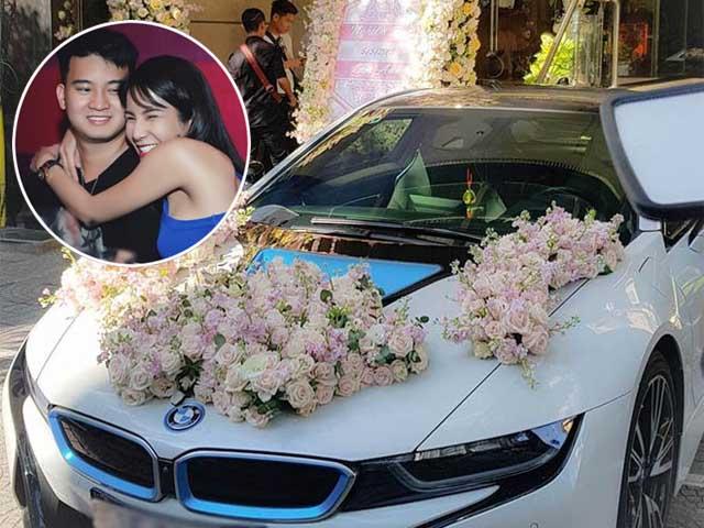 Diệp Lâm Anh được chú rể đón bằng siêu xe tốc độ BMW