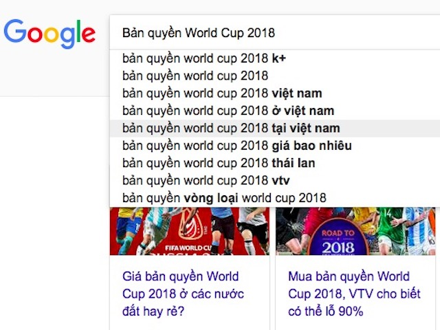 """""""Bản quyền World Cup 2018 tại Việt Nam"""" dẫn đầu xu hướng tìm kiếm ngày 6/6"""