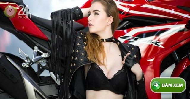 Ngắm mẫu Tây cực nóng bên môtô Honda CBR đỏ chót