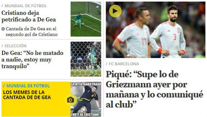 Kinh điển World Cup BĐN - TBN: Báo chí trách De Gea, Pique cay cú tố Ronaldo ăn vạ - 1