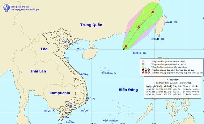 Thêm một áp thấp nhiệt đới giật cấp 8 xuất hiện trên Biển Đông - 1