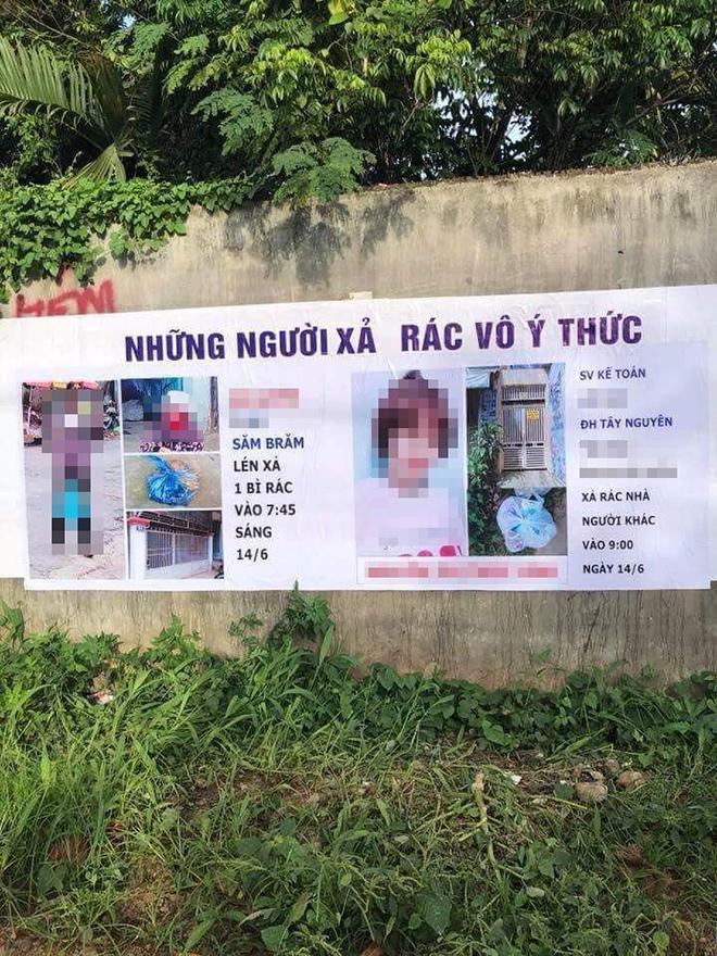 Hai người bị chụp ảnh, bêu tên trên tấm phông bạt vì xả rác nơi công cộng - 1