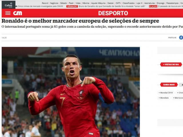 """Bồ Đào Nha vượt ải World Cup: Báo chí thế giới nể phục """"máy săn bàn"""" Ronaldo"""