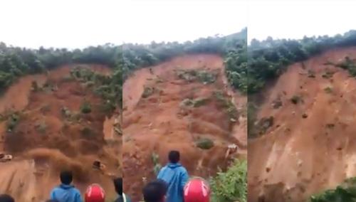 Cận cảnh vụ lở đất kinh hoàng cuốn bay 2 máy xúc ở Lai Châu - 1