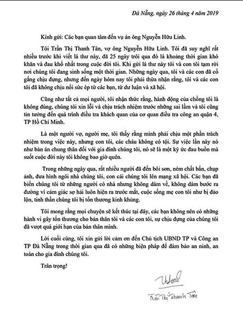 Vợ bị can Nguyễn Hữu Linh gửi tâm thư đau đớn về vụ án của chồng - 2