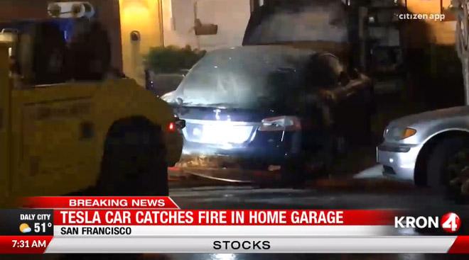 Tesla Model S bỗng dưng bốc cháy trong nhà xe lúc nửa đêm - 1