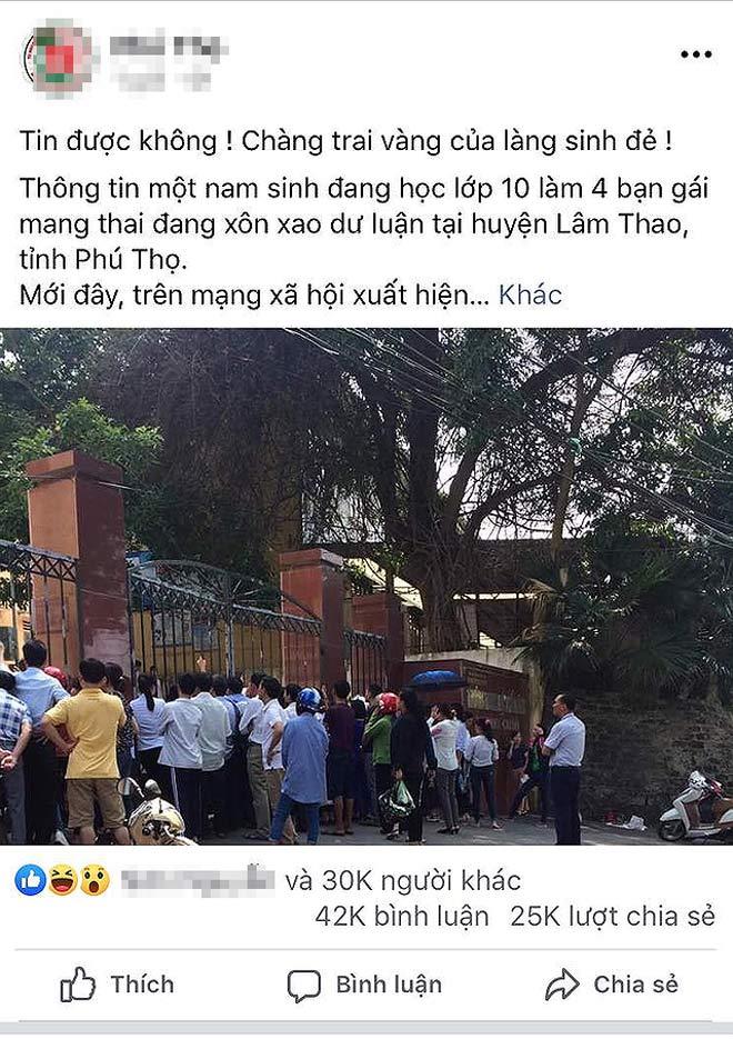 Sở GD-ĐT Phú Thọ đề nghị công an làm rõ tin đồn nam sinh lớp 10 làm 4 bạn nữ có thai - 1