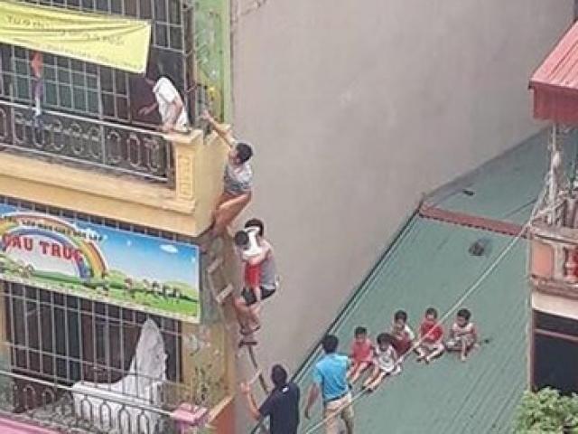"""""""Chưa đến mức phải đưa trẻ thoát hiểm bằng thang băng qua mái nhà sau vụ cháy"""""""