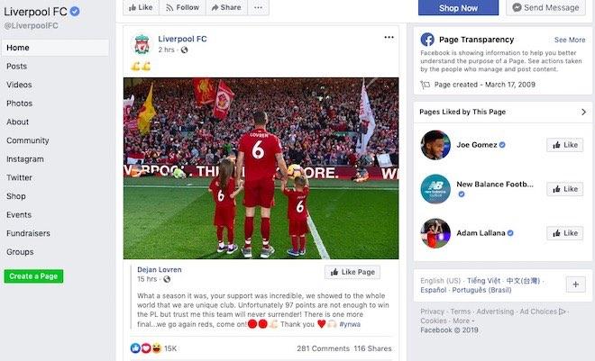 """Liverpool và Tottenham sắp """"đại chiến"""" Chung kết C1: Ai """"hot"""" hơn ai trên Facebook? - 2"""