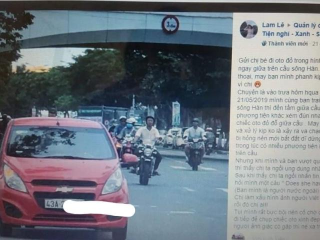 Dừng ô tô trên cầu sông Hàn để nhắn tin, nữ tài xế gây