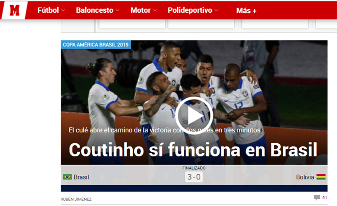"""Brazil đại thắng Copa America: Báo chí """"choáng"""" vì SAO Barca xuất sắc - 7"""